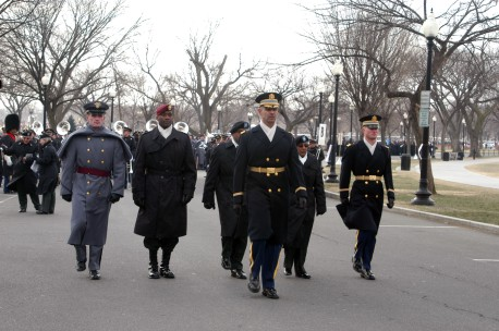 My husband, center, marching in the last Presidential Inauguration.