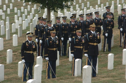 A funeral at Arlington National Cemetery