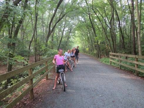My niece, in the pink shirt, is taking us on a trail ride.
