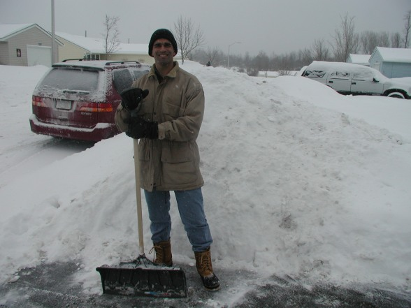 Shoveling! My husband deployed three times in the three years we lived here so typically I got to do this.